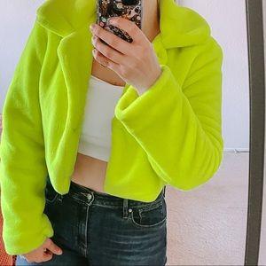 F21 neon faux fur cropped jacket coat Large